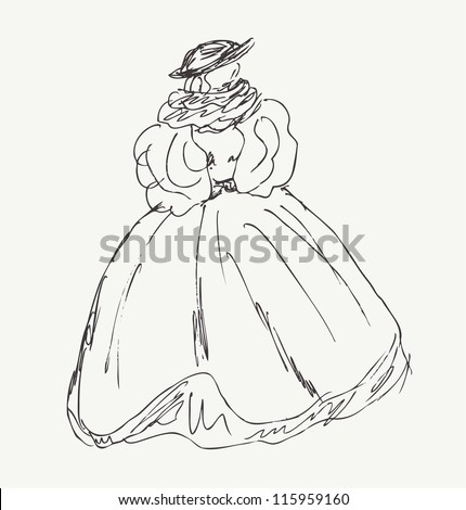 Sketch of woman in historical ball dress. Lady in vintage dress with puffed sleeves. Hand drawn baroque woman silhouette - stock vector