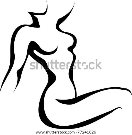 Sketch of woman torso - stock vector