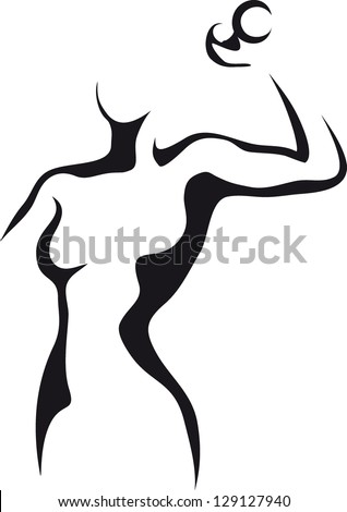 Sketch of woman with dumbbell - stock vector