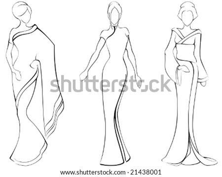 Sketch of women in traditional asian dresses (vector); a JPG version is also available - stock vector
