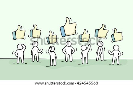 Sketch of working little people with like signs. Doodle cute miniature scene of workers. Hand drawn cartoon vector illustration for business and web design. - stock vector