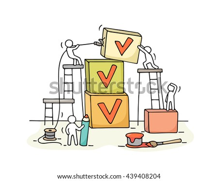 Sketch of working little people with pyramid of cubes, tick. Doodle cute miniature teamwork and checklist. Hand drawn cartoon vector illustration for business design and infographic. - stock vector