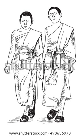 sketch of young buddhist monks walking on street in Thai, Chiangmai, free hand draw illustration vector