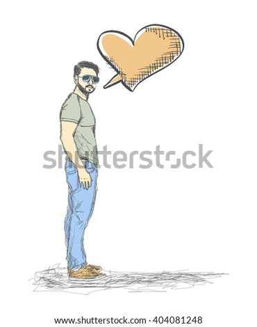 Sketch of Young Man with a empty speech heart on White Backgroud - stock vector