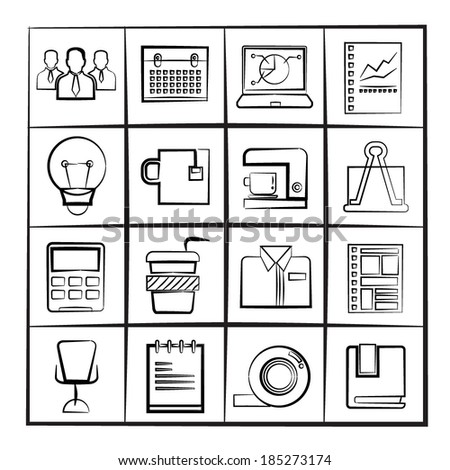 sketch office and business icons - stock vector