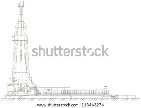 Sketch. oil derrick. EPS 10 - stock vector