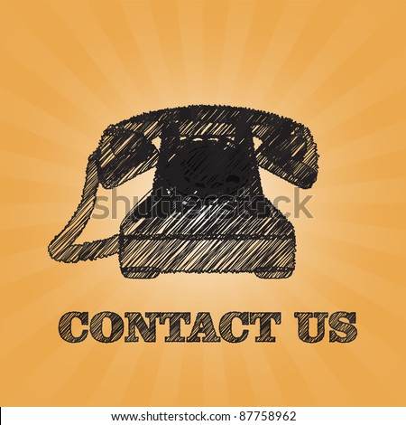 sketch old fashioned phone with contact us text - stock vector