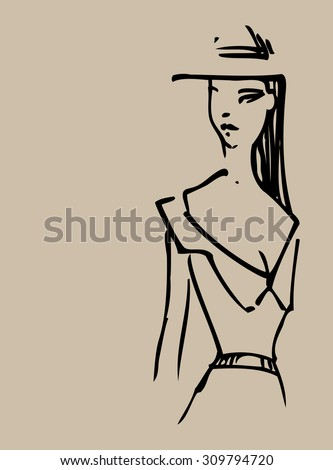 Sketch on paper of the woman with hat. - stock vector