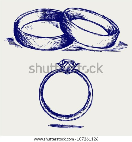 Sketch Pencil Wedding Rings Stock Vector 107261126 Shutterstock