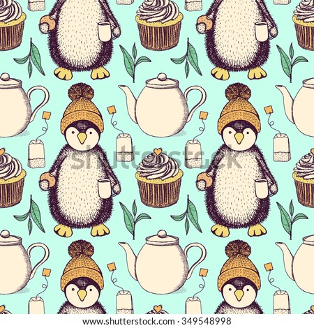 Sketch penguin in hat with cup of tea and cookie, vector seamless tea pattern - stock vector