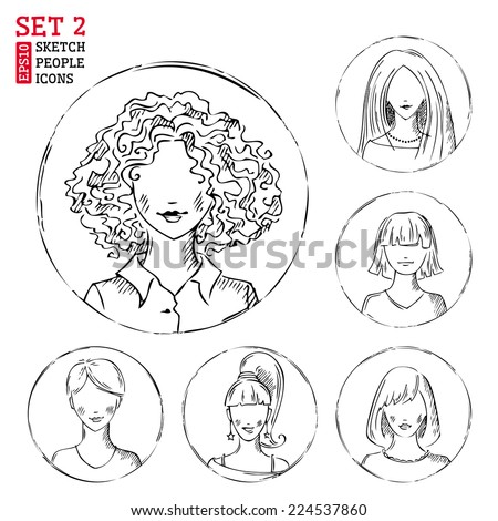 Sketch people icons. Pencil women hand-drawn round avatars isolated on white background. - stock vector