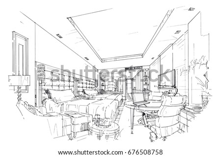 Sketch Perspective Interior Drawing Pen With Pencil Black And White Design Vector
