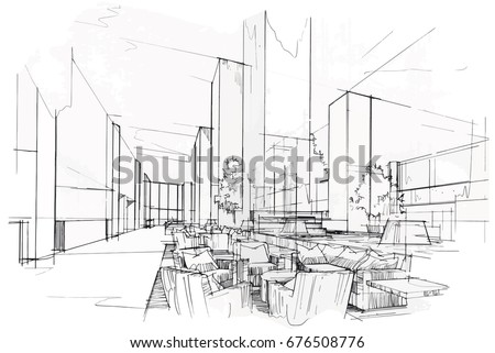 Exceptional Sketch Perspective Interior. Drawing Pen With Pencil Black And White  Interior Design. Vector Sketch
