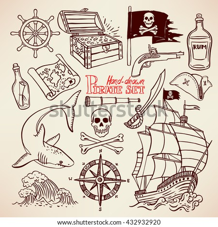 sketch pirate set. collection of hand-drawn pirate paraphernalia. pirate flag, ship, navigation attributes