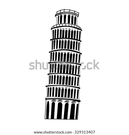 Sketch Pisa tower on white background vector