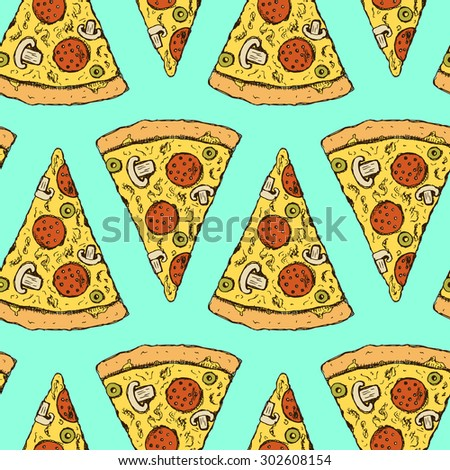 Sketch pizza slice in vintage style, vector seamless pattern - stock vector