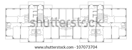 Sketch plan of an apartment building. Vector EPS10 - stock vector