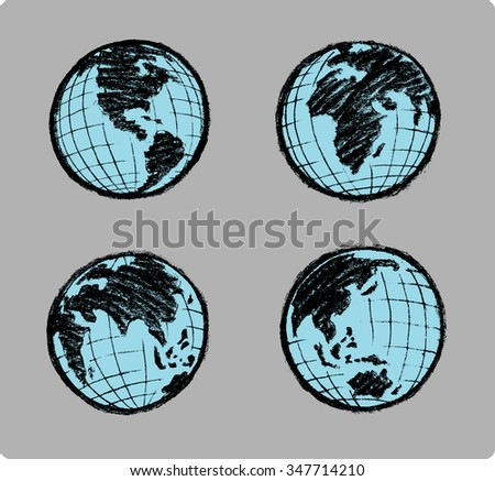 Sketch Planet Earth Set - Set of different world continents with variation of line strokes, vectorized from my own sketch