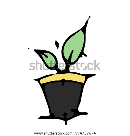 Sketch plant in a pot on white background. Stock drawn vector illustration. - stock vector