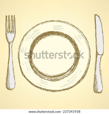 Sketch plate, knife and fork in vintage style, vector - stock vector
