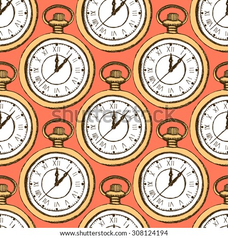 Sketch pocket watch in vintage style, vector seamless pattern - stock vector