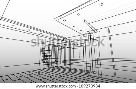 Sketch project of my apartment - stock vector
