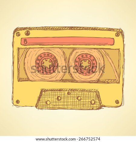 Sketch record cassette in vintage style, vector - stock vector