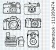 sketch retro camera set - stock vector