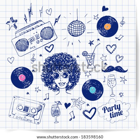 Sketch 80s party objects. Hand-drawn with pen on squared paper. Vector illustration. - stock vector