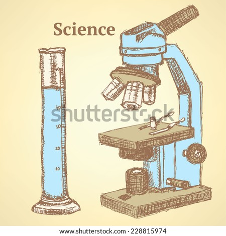 Sketch scientific set in vintage style, vector background - stock vector