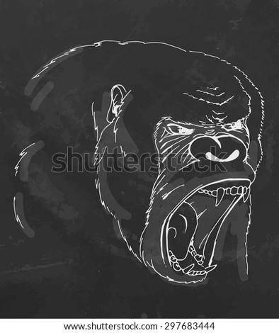 Sketch screaming chimp on chalk board. Vector illustration. - stock vector