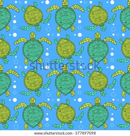 Sketch sea turtle pattern in vintage style, vector tile - stock vector