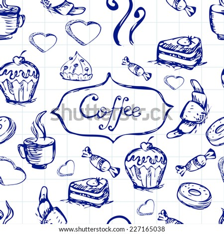 Sketch seamless pattern with coffee and sweets. Vector hand-drawn illustration. - stock vector