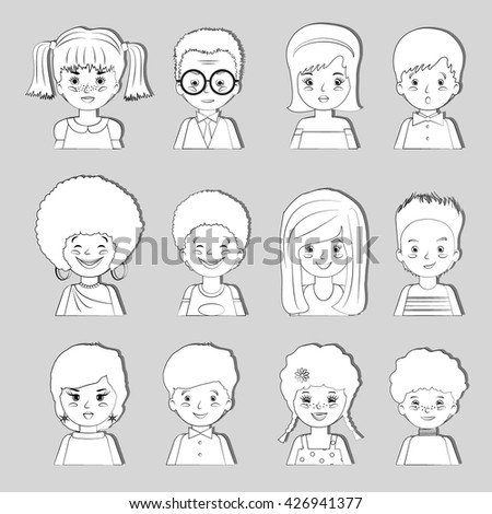 Sketch set of avatars children - boys and girls on a gray background. Vector illustration.