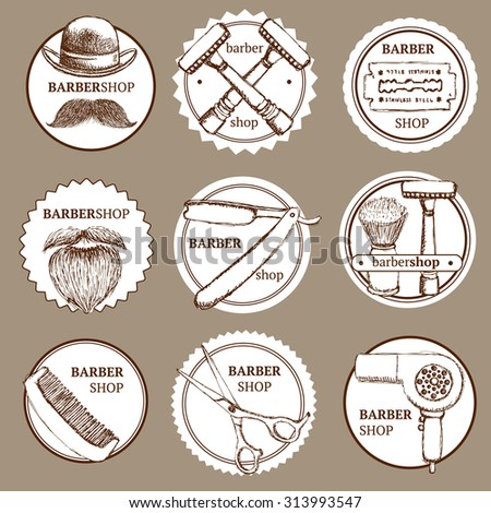 Sketch set of barbershop logotypes in vintage style, vector