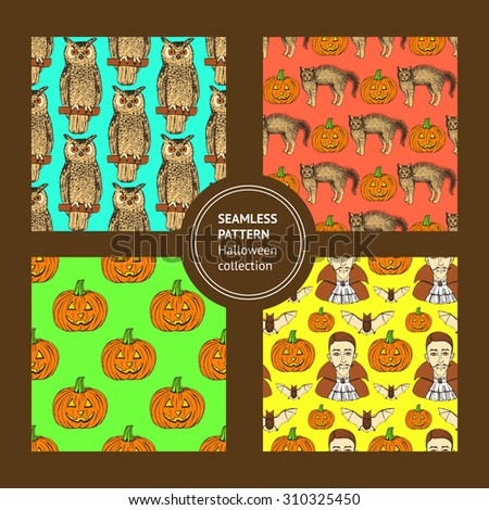 Sketch set of Halloween's logotypes in vintage style, vector - stock vector