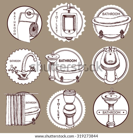 Sketch set of logo with bathroom and toilet symbols in vintage style, vector - stock vector