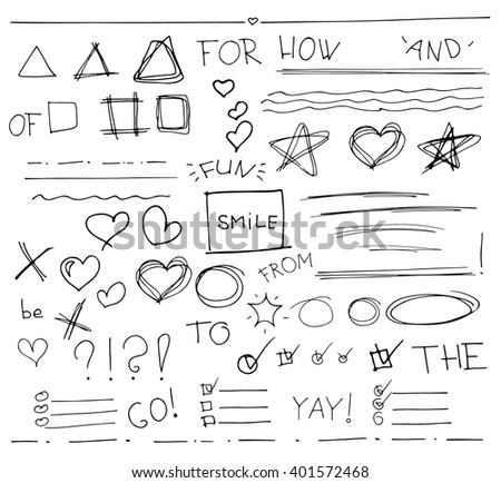 Sketch  set of  vector hand drawn arrows, circles, hearts and abstract doodle, text correction and highlighting elements on white background.  Doodles for design. writing design vector set.  - stock vector