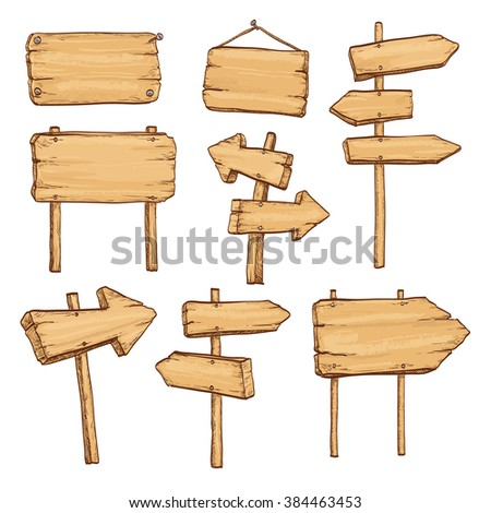 Sketch set of wooden signposts and signboards. Hand drawn vector illustration. Isolated on white background.
