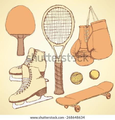 Sketch sport equipment in vintage style, vector - stock vector
