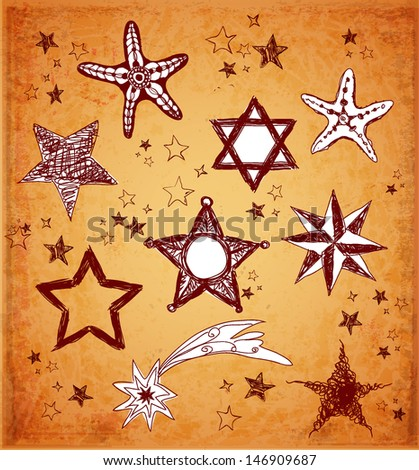 Sketch stars collection in vintage style. Vector illustration