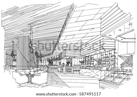 sketch streaks all day restaurant black and white interior design vector sketch - Interior Design Sketches