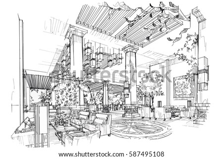 sketch streaks lobby hall black and white interior design vector sketch - Interior Design Sketches