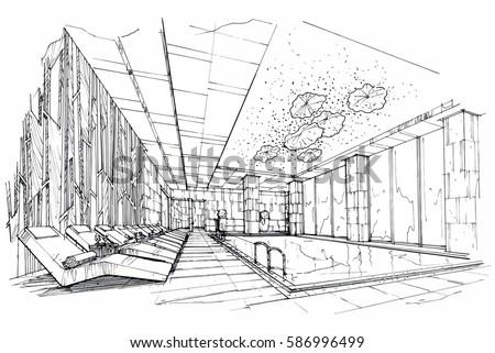 Sketch streaks swimming pool black white 586996499 for Swimming pool sketch