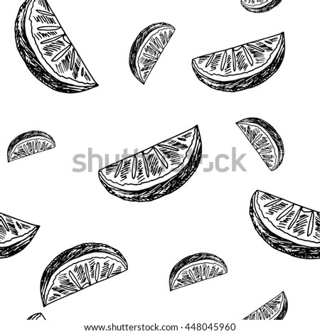 Sketch style background. Hand drawn lemonade seamless pattern on white background. Vector illustration.
