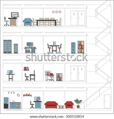 Sketch Style Cutaway Office Building with Interior Design Plan - Detailed Grouped and Layered EPS10  - stock vector