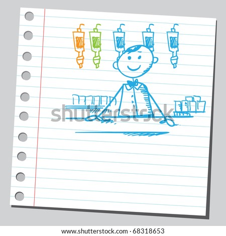 Sketch style illustration of a barman - stock vector