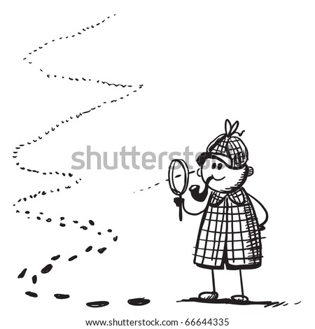 Sketch style illustration of a funny detective - stock vector