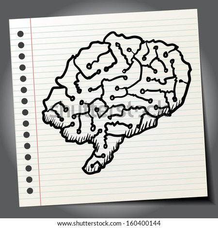 Sketch style illustration of a human brain - stock vector