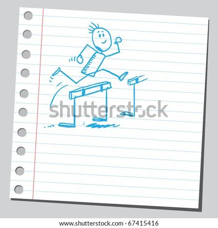 Sketch style illustration of a hurdler  athlete running - stock vector